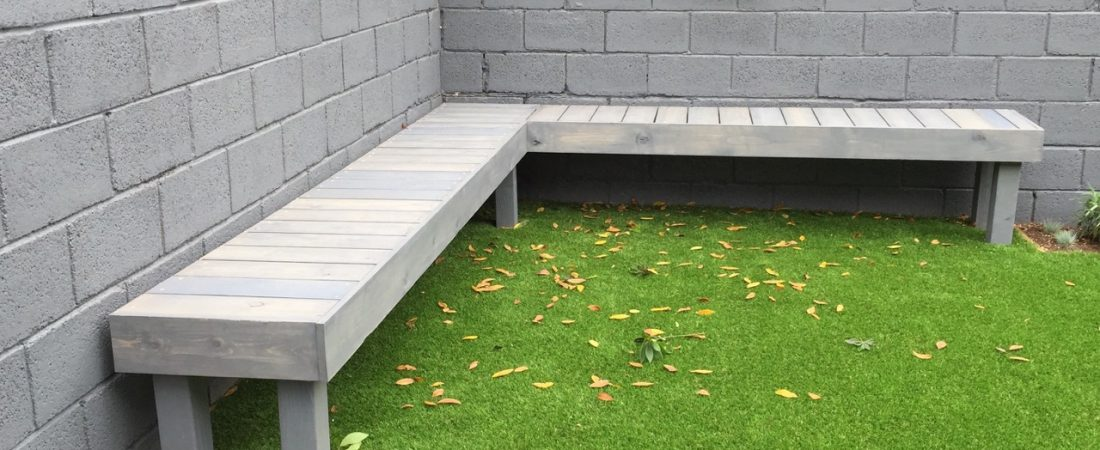 L-shape bench designed for landscaping client in Los Angeles, California