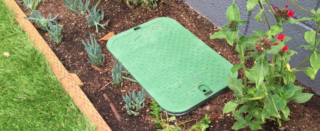 irrigation box in planter bed